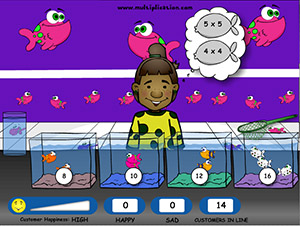 Scoop two Fish for each Kid in Fish Shop Multiplication | Multiplication.com
