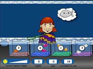 Pick the Right Fish in Fish Shop Subtraction | Multiplication.com
