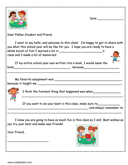 Friendly Letter Format Elementary School.  A Friendly Letter to Next Year s Student with Free template