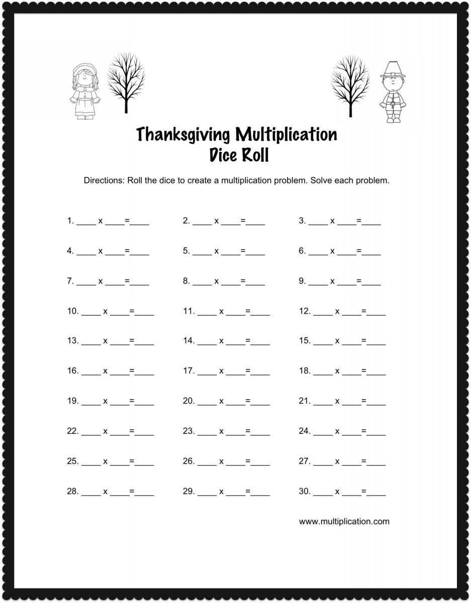 Thanksgiving Multiplication Dice Roll Worksheet – Thanksgiving Multiplication Worksheet