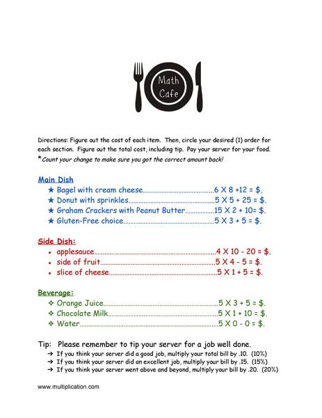 math worksheet : math cafe fun end of year math activity : Math Cafe Worksheets
