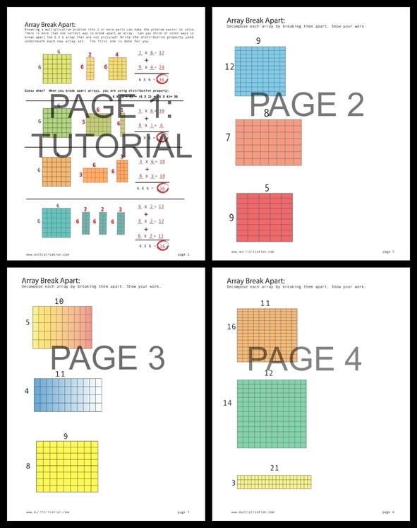 Math array worksheets free