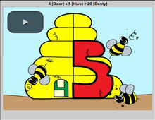 Student learn the times tables by watching animated videos of each equation