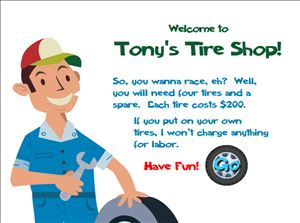 Tonys Tires Multiplication Game Step 1