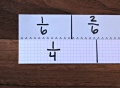 equivalent fractions, fraction strips, discovery math, beginning fractions