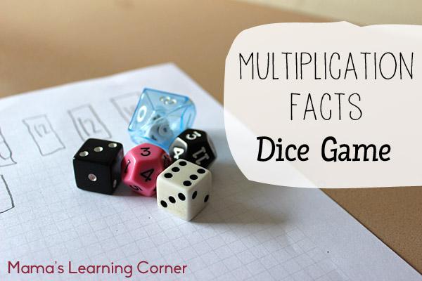 Number Names Worksheets beginning multiplication games : Multiplication Dice
