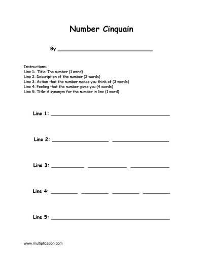how to write a cinquain worksheet